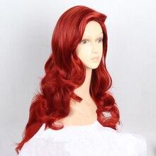 """Pelo Largo ondulado rojo cobrizo de 28 """"y 72cm, pelo de conejo con flequillo grande intercambiable, resistente al calor, Cosplay, peluca y gorro de peluca"""
