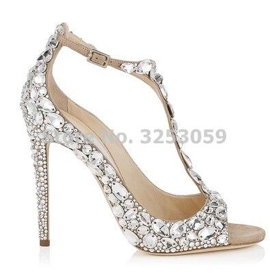 Bling Bling Crystal femmes chaussures de mariage bout pointu Super Stiletto talon haut sandales t bar couverture talon boucle sangle pompes - 4