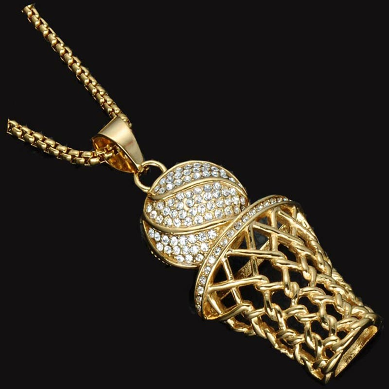 Hip Hop Basketball Hoop Rhinestone Necklaces Golden Bling Stainless Steel Sports Pendants for Man Fashion Sport Hip Hop Jewelry