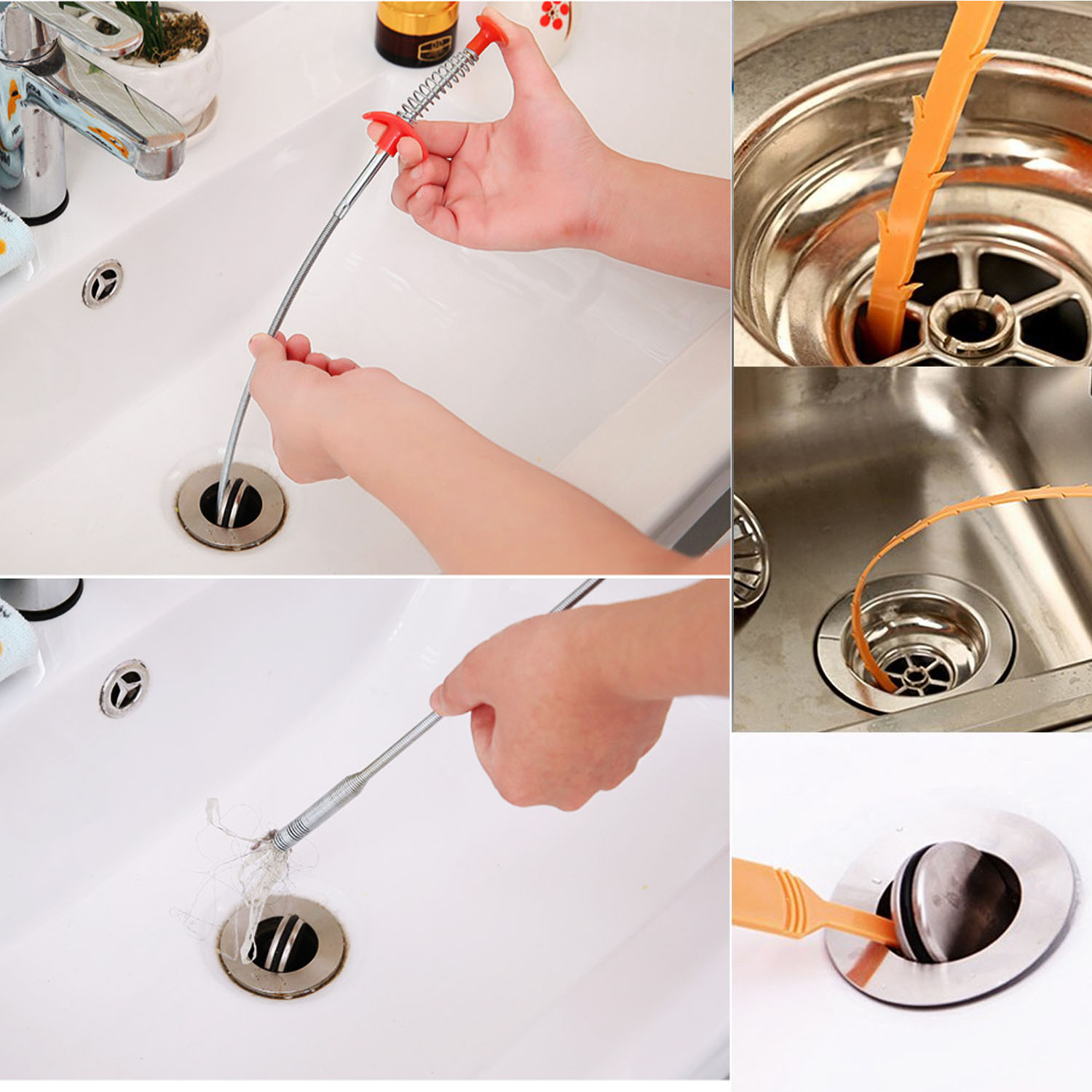 Behokic 6pcs Drain Snake Hair Drain Clog Remover Drain Relief Auger  Cleaning Tool Blockages Catcher 2