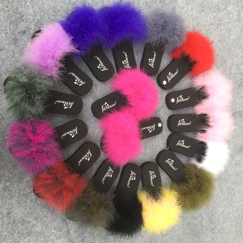 Fur Slides Women Ostrich Home Slippers Feathers Fluffy 44 Sweet Sandals Beach Shoes Summer Pantufa Fashion Sliders Flip Flops