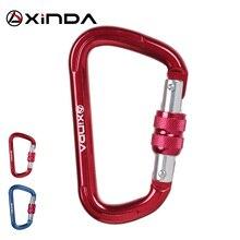 XINDA Camping Outdoor Rock Climbing Carabiner 22KN Safety D-Shape Buckle Screw Lock Spring-loaded Gate Aluminum Carabiner