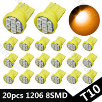 20PCS Yellow 1206 Smd T10 8 Smd 8smd 8led Led 194 168 192 W5W Super