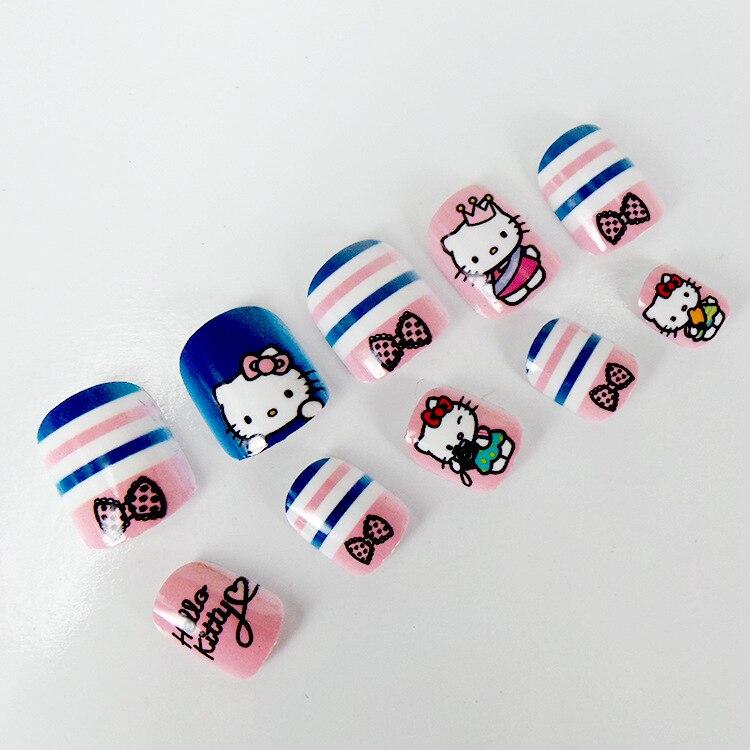 Cute Hello Kitty Children Nails Kit Fake Nails 24 Pcs Kawaii Cat ...