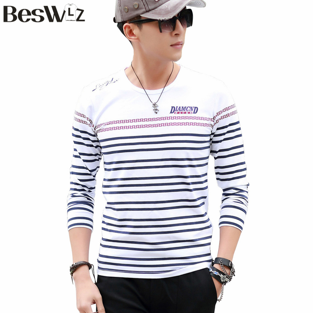 Beswlz Spring Autumn Men Striped T-Shirts Long Sleeve O Neck Cotton Slim T Shirts Fashion Casual Men Tops Tees 5822