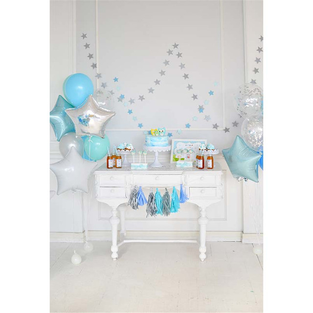 baby boy 1st birthday background printed dessert table blue and