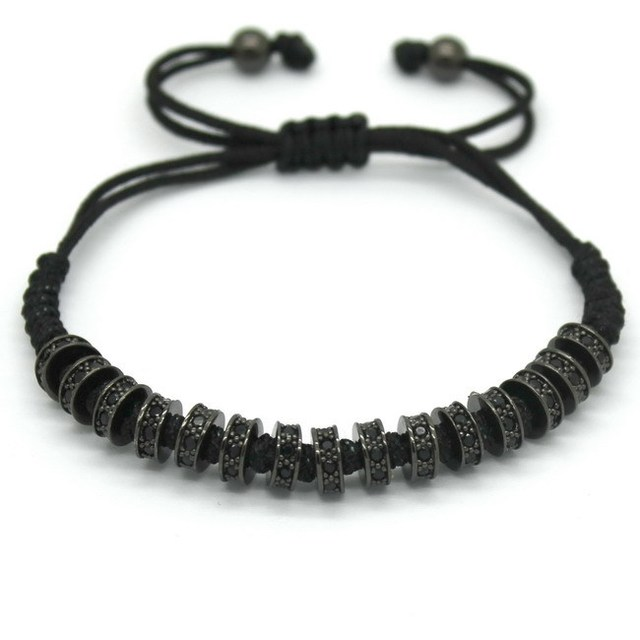 Fashion Macrame Bracelets,6MM Beads Micro Pave Black CZ Stoppers Beads Briading Macrame Bracelet Best Gift For Women Jewelry