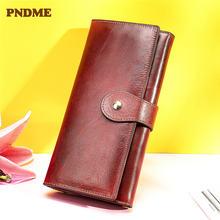 Pndme Модный женский кошелек из натуральной кожи клатч повседневный