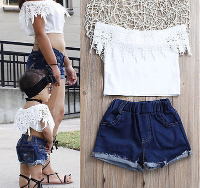 c2093581435298 New Toddler Kids Baby Girls Sunmmer Clothes White Lace Tops Denim Shorts  Hot Pants Outfits Clothing Sets