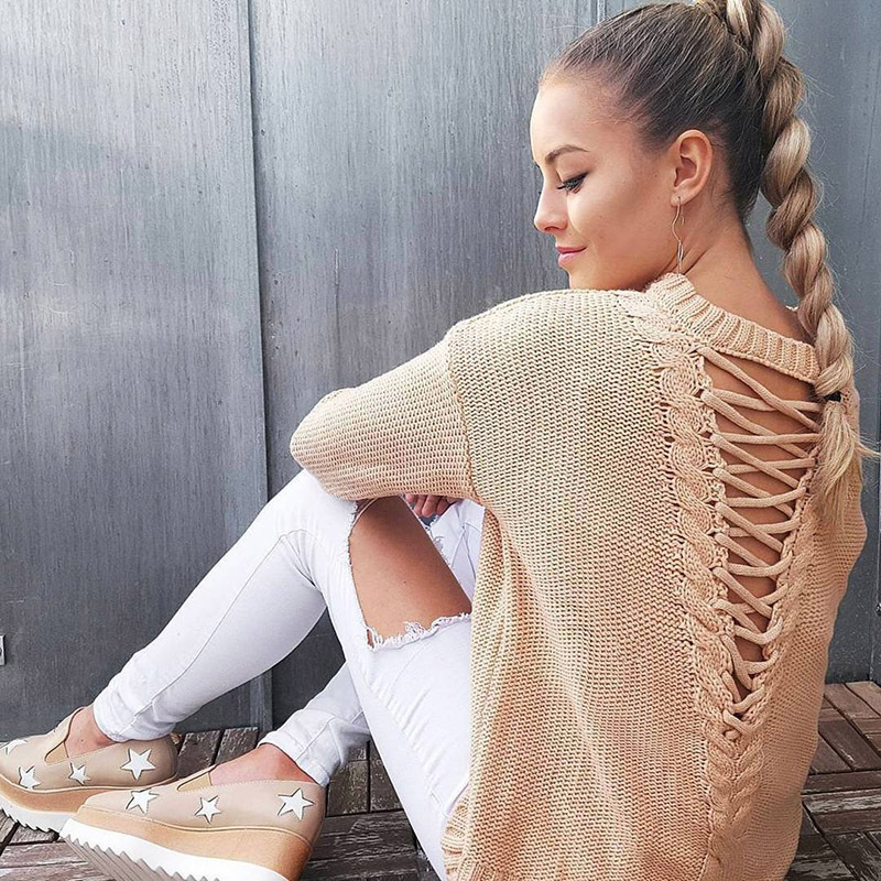 Pull femmes 2019 hiver pull à manches longues pull femmes lâche chandail Sexy évider dos femme pull