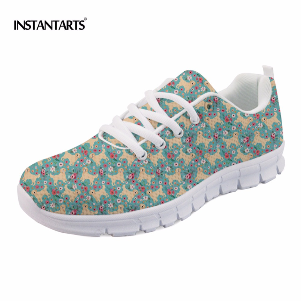 INSTANTARTS Spring Women Air Mesh Flat Shoes Breathable Golden Retriever / Shiba Inu Flower Sneakers Woman Casual Flats Big Size instantarts cute women flat shoes puppies samoyed flower printed teen girls spring mesh flats shoes fashion comfortable sneakers
