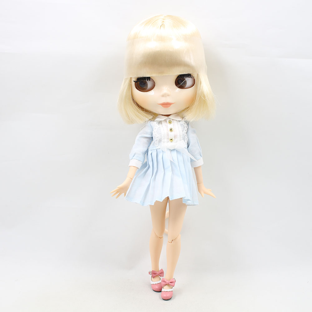 Oyuncaklar ve Hobi Ürünleri'ten Bebekler'de BUZLU fabrika blyth doll 1/6 bjd sarışın beyaz kısa saç ortak vücut beyaz cilt oyuncak 130BL0519'da  Grup 2