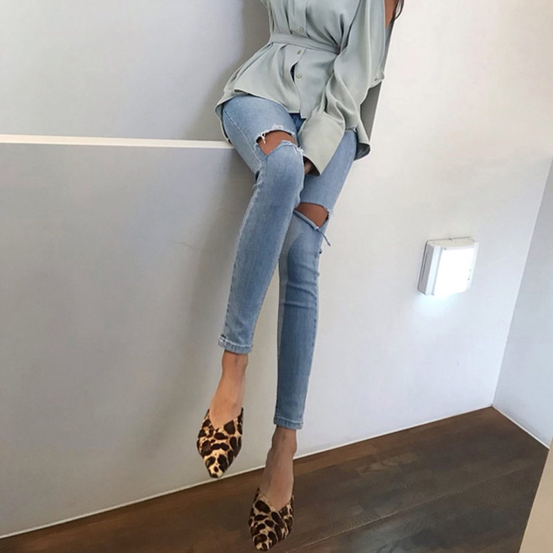 Spring Summer Light Washed Ripped Holes Women Jeans Denim Skinny Jeggings Cool Pants Capris Casual Female Denim Jeans 2019 Women Women's Clothings Women's Jeans cb5feb1b7314637725a2e7: denim blue`