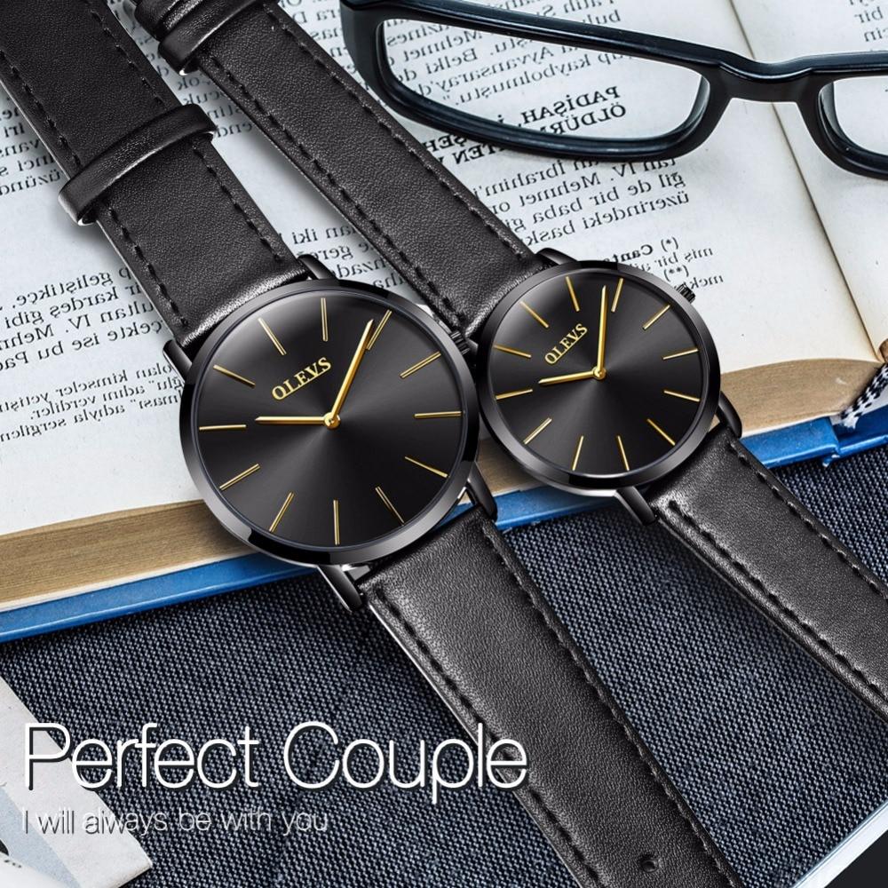 OLEVS Couple montres pour amoureux décontracté japon mouvement Quartz Ultra mince montres pour hommes femmes Simple montre-bracelet relogio