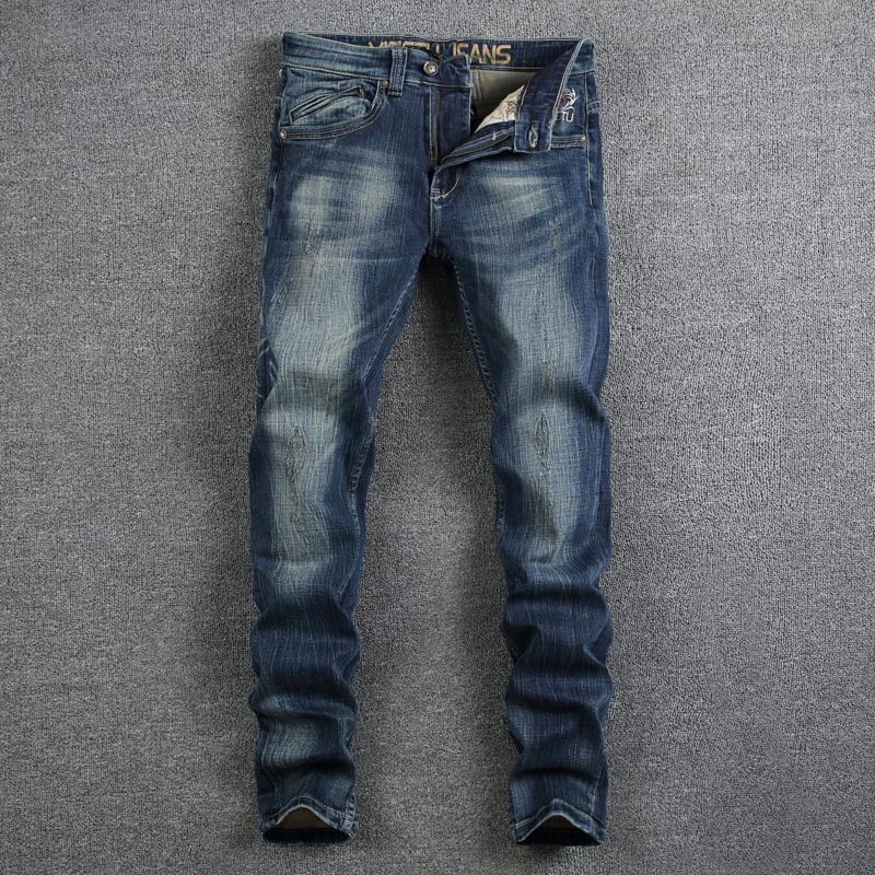 Italian Style Fashion Mens Jeans Dark Blue Color Denim Printed Jeans For Men Brand Clothing Slim Fit Elastic Stretch Biker Jeans