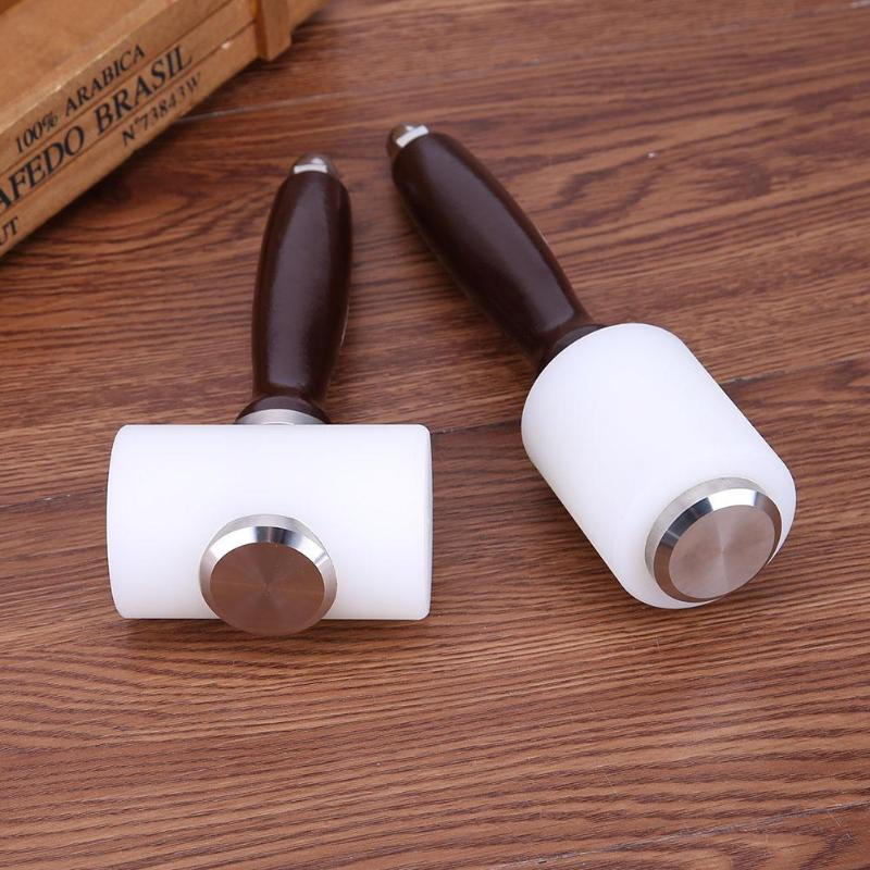 Leder Carving Hammer Druck Werkzeug DIY Handwerk Rindsleder Punsch Schneiden Nylon Hammer Werkzeug mit Holz Griff 190mm/215mm