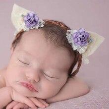 Newborn Lace Non-woven fabric Cat Ear Hairband Infant Flower Headband Bebes Hair Flowers Headband Baby Photo prop headwear