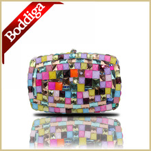 Handmade Abend Kupplungen Luxus Multicolor Diamant box clutch bag geldbörse harter Beutel Damentaschen Mit Legierung Schulter Kette #6027