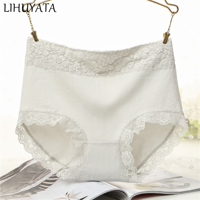 LIHUYATA Women's briefs Comfortable Cotton High waist underwear Seamless lace Women Sexy Ultra-thin Breathable   Panties   New
