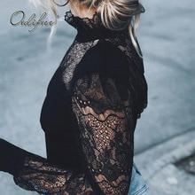 Ordifree летняя Черная кружевная блузка с длинным рукавом, сексуальный топ, кружевная вязаная крючком женская блузка, рубашка, сорочка для женщин