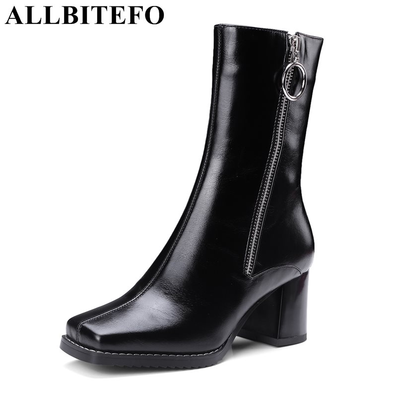 ALLBITEFO large size:34-42 genuine leather square toe women boots fashion brand metal charm thick heel martin boots girls boots цена 2017
