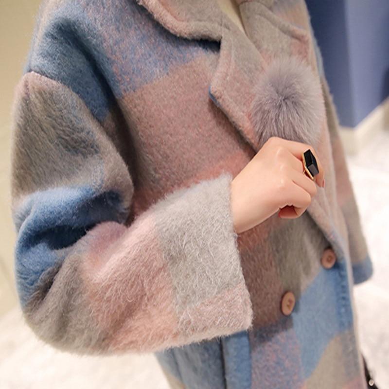 Mode Hiver Couleur Style Bleu Jge1009 Femmes Rose Laine De Double Doudoune Plaid Breasted Manteau Contraste Femme 2017 Ndy24 Nouveau Doux Et 45gwX1v