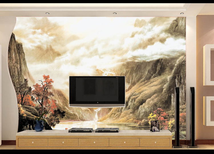 Custom Size Photo 3D river flows Chinese ink landscape painting TV background sofa galloping horse wallpaper mural