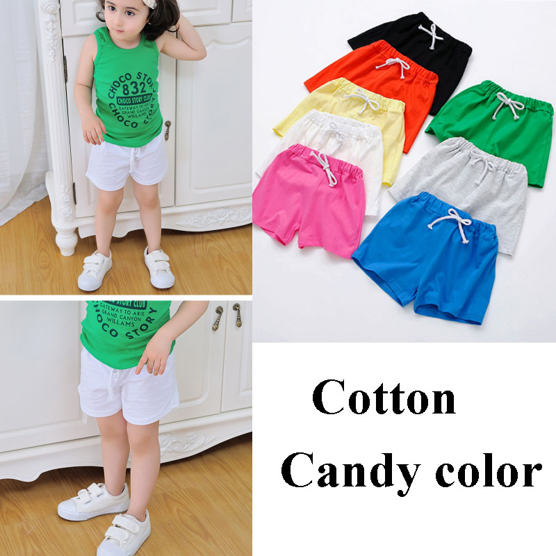 Fashion Toddler Kids Baby Boy Girl Candy Solid Elastic Waist Casual Shorts Pants