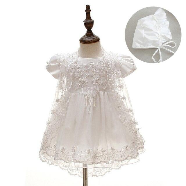 3 unids/set nuevo bebé niñas vestido de bautizo vestido blanco, vestido de la princesa de gasa y encaje bautismo vestidos 1 año Cumpleaños infantiles
