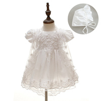 3pcs/set New Born Baby Girls Dress Christening Gown White Princess Lace Chiffon Baptism Dresses for 1 Year Birthday Infantis