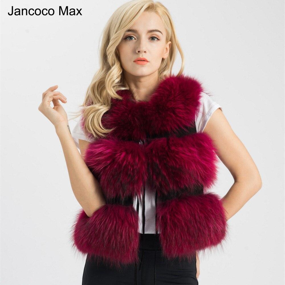 Jancoco Max 2018 Cinq Couleurs Réel De Fourrure Gilet Femmes Véritable Fourrure De Raton Laveur Gilet Gilet Hiver Nouvelle Mode 3 Rangées Gilet s1150SJ