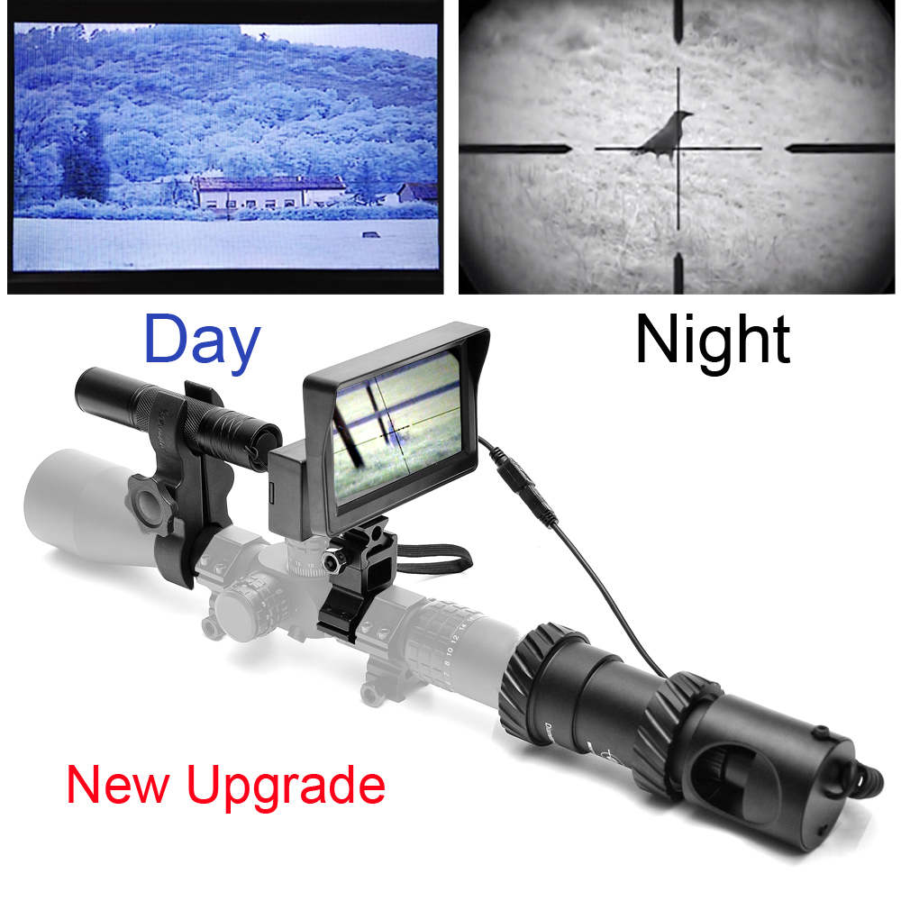 Upgrade Rifle Night Vision Outdoor Hunting Optics Sight Binoculars With LCD And IR Flashlight Not Include Rifle Scope