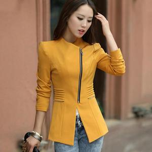 Image 5 - Fashion Women Jacket Long Sleeve Top Office Lady Zipper Blazer Suit Slim Fit Lapel Jacket Tops Coat Polyester Formal Outwear
