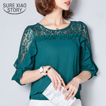 2019 Fashion Summer women blouses tops Hollow Women lace Chiffon Blouse shirt Female Solid Patchwork Plus Size Blouse 78F 30