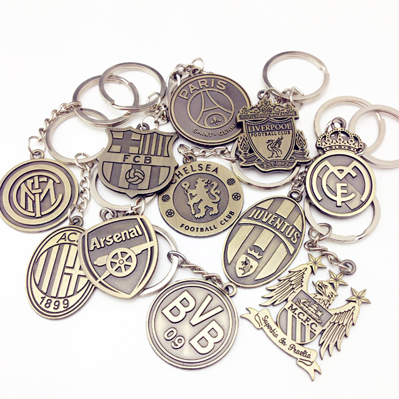 Football Club Keychain Metal Keyring Europe's Football leagues Key Chain Porte Clef Bag Car Pendant Man Women Gift New Arrive popular new arrive despicable me 3 minion keychain led keychain cute flashlight keyring talk minions christmas gift 3 30pcs lot