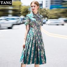 2019 Spring Summer Women short Sleeve Floral Print Elegant Casual Dresses Vestidos Robe Femme floral lapel print pleated Dress