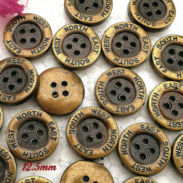2016 New Sewing Buttons 144pcs 12.5mm broad edge 4 holes bronze Carved direction shirt button for sewing decorative accessories