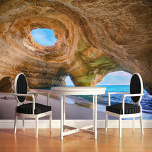 3D Wallpaper Seaside Cave Wall Painting Wallpaper