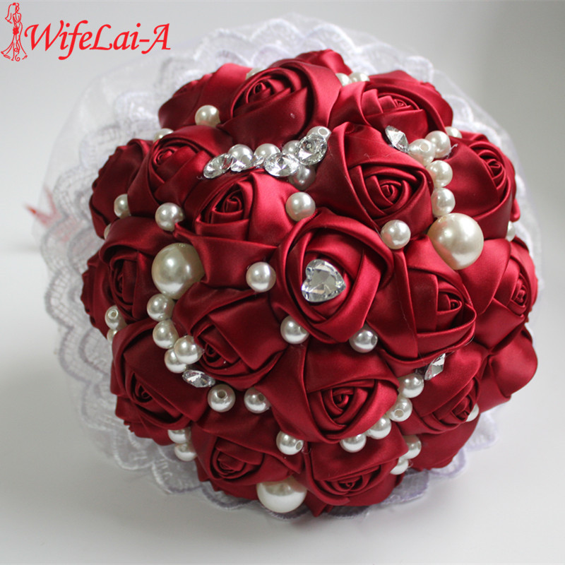 POP Style Pearl Wine Red Silk Ribbon Flowers Bridal Wedding Bouquets Romantic Lace Wedding Bridesmaid Stitch Bouquet W239