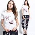 JIBAIYI blanco altos zapatos 2017 de La Moda T-shirt de Impresión de Las Mujeres Shirt Mujeres Tops Casual Brand Camiseta Femme Mujer clothing
