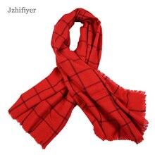 jzhifiyer YX001 260G Women High quality Tartan Vintage Scarves Plaid Scarf Cozy Checked Blanket Oversized Wrap Kashmere Scarfs