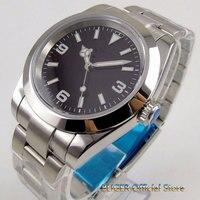 Solid 39mm Black Dial Luminous Sapphire Glass Polished Bezel 21 jewels MIYOTA 8215 Automatic Movement Men's Watch Men