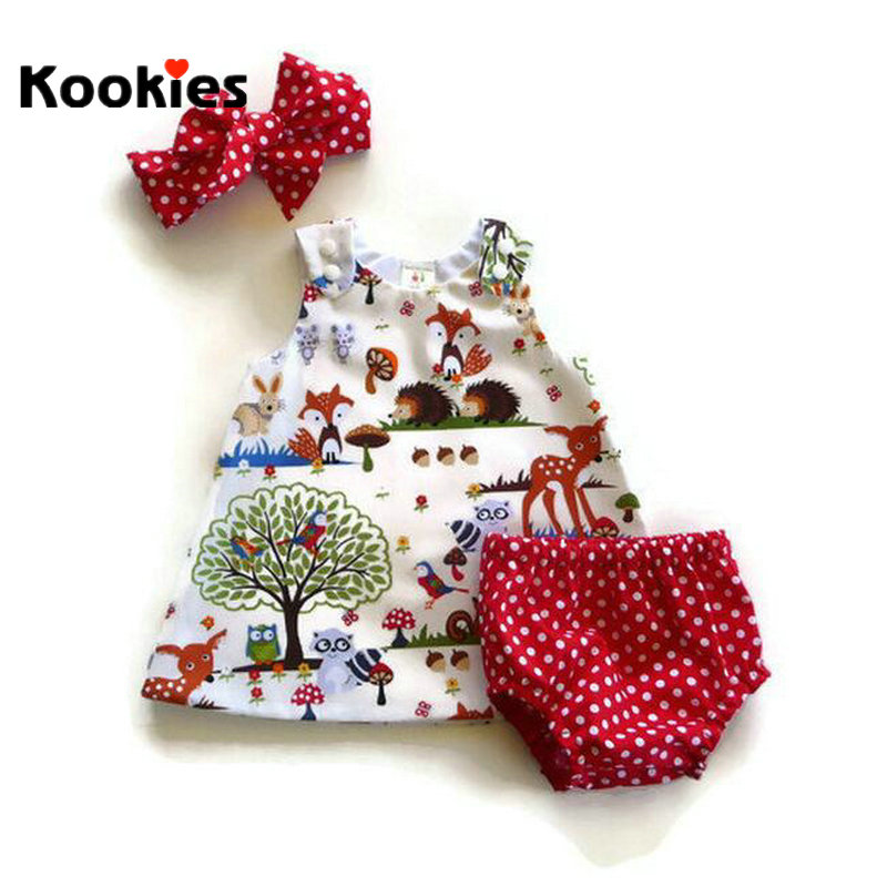 New Fashion Baby Girls Clothing Set Sleeveless Dress + Red Dots Shorts + Headband 3 Pcs Suits Infants Newborn Dresses KD807