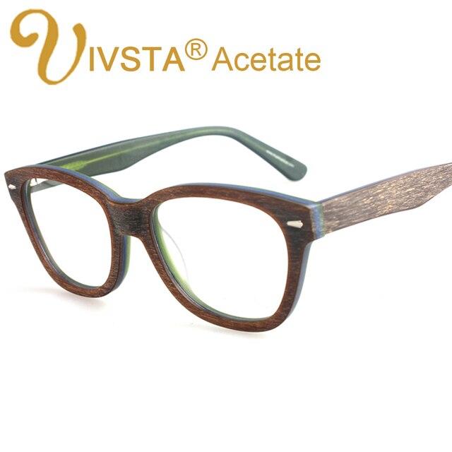 7e2b396afb57 IVSTA Eyeglasses Acetate Frames with Wood Grain Design Handmade Acetate  Optical Frame Wooden Glasses Women myopia