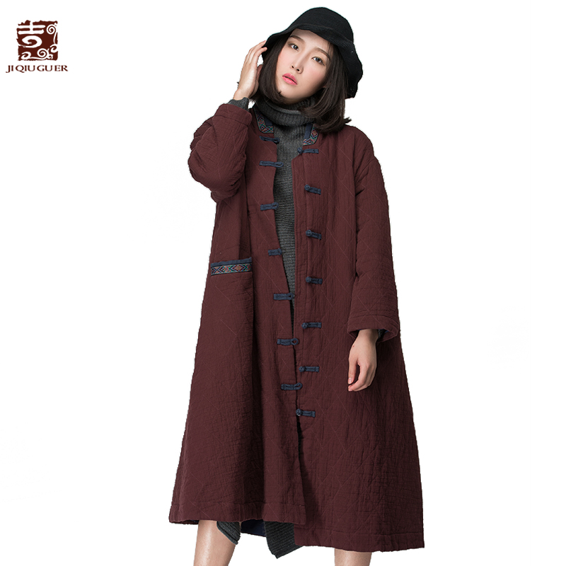 Jiqiuguer Original Design winter jacket women plus size Warm Wadded Jacket Winter Cotton-padded ethnic Jacket G154Y026