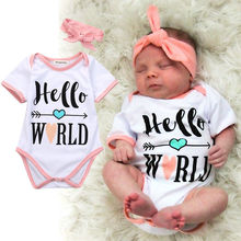 2pcs Newborn Baby Girls Clothes Bodysuit + Headwear Hellow World Baby Kids Outfits Playsuits New