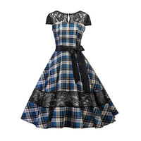 Queenus Women Vintage Dresses 2018 Spring Summer Fall Red Plaid Hollow Backless Mid Lace Patchwork Blue