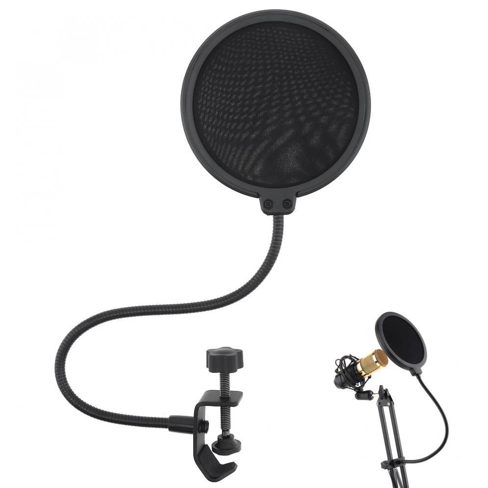Practical Double Layer Studio Microphone Flexible Wind Screen Mask Mic Pop Filter Shield For Speaking Studio Singing Recording
