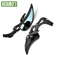 8MM 10MM Black Chrome Motorcycle Mirror Flame Teardrop Side Rear View Mirrors Motorcycle Accessories Rearview Mirrors