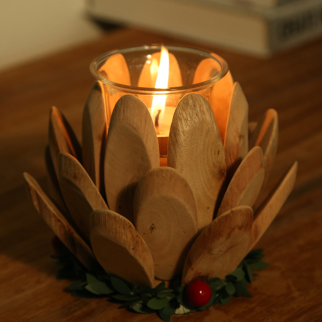 Traditional Chinese Style Lotus Shape Candle Holder 100% Handmade Wooden Candle  Stand Tea Light Hlder
